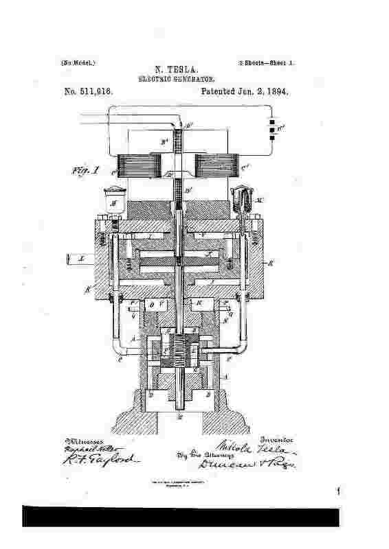 PATENT 511,916: Electric Generator